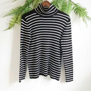 Ralph Lauren Black & White Striped Turtleneck